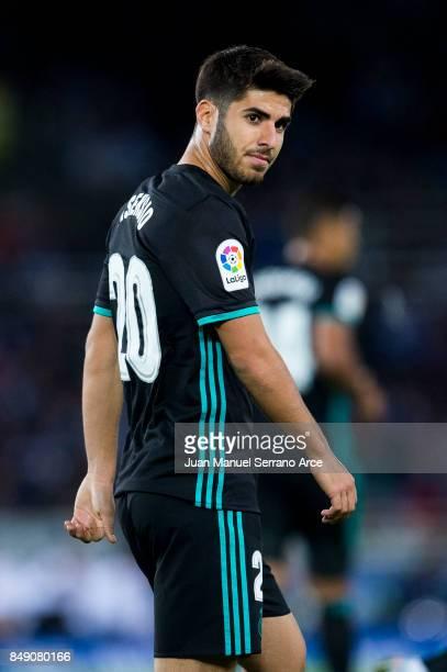 Marco Asensio of Real Madrid reacts during the La Liga match between Real Sociedad de Futbol and Real Madrid at Estadio Anoeta on September 17 2017...