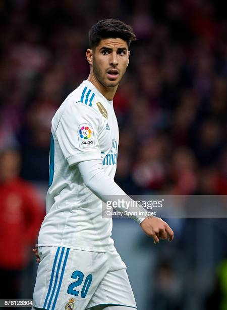Marco Asensio of Real Madrid reacts during the La Liga match between Atletico Madrid and Real Madrid at Wanda Metropolitano Stadium on November 18...