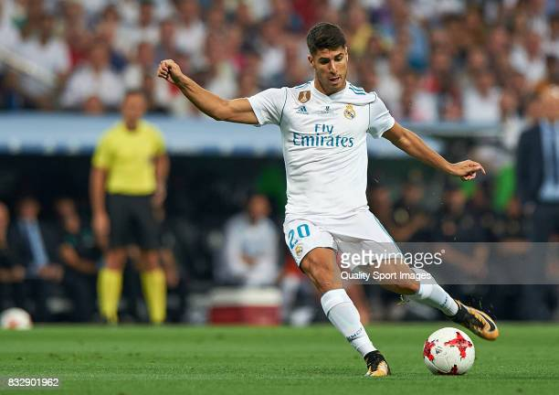 Marco Asensio of Real Madrid shoot to goal during the Supercopa de Espana Supercopa Final 2nd Leg match between Real Madrid and FC Barcelona at...