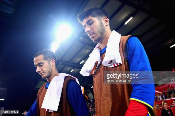 Marco Asensio of Spain and Lucas Vazquez of Spain walk out before the FIFA 2018 World Cup Qualifier between Liechtenstein and Spain at Rheinpark...