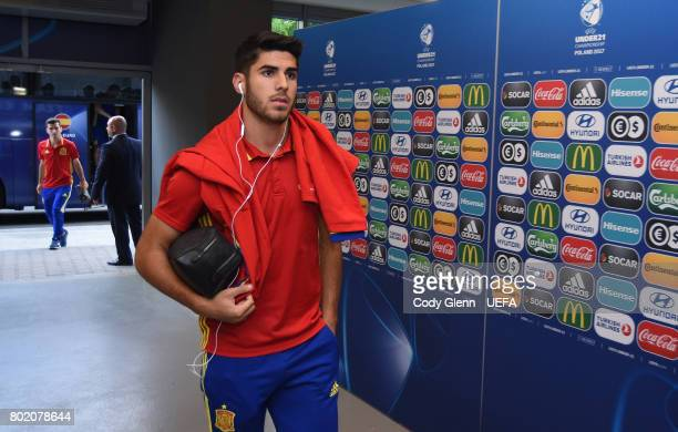 Marco Asensio of Spain and teammates arrive before their UEFA European Under21 Championship 2017 semifinal match against Italy on June 27 2017 in...