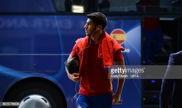 Marco Asensio of Spain arrives before their UEFA European Under21 Championship 2017 semifinal match against Italy on June 27 2017 in Krakow Poland