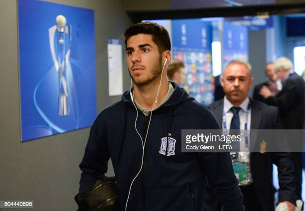 Marco Asensio of Spain arrives before their UEFA European Under21 Championship 2017 final match against Germany on June 30 2017 in Krakow Poland