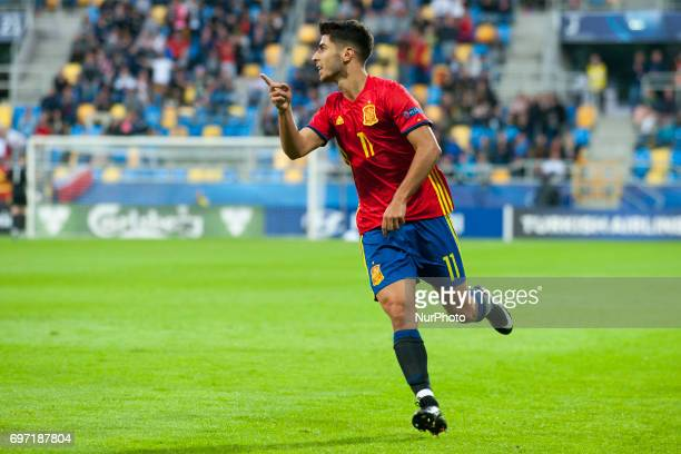 Marco Asensio of Spain celebrates during during the UEFA Under 21 Championship Group B match between Spain and FYR Macedonia at Gdynia Stadium in...