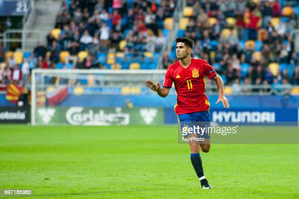Marco Asensio of Spain celebrates his goal for Spain during the UEFA Under 21 Championship Group B match between Spain and FYR Macedonia at Gdynia...