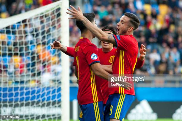 Marco Asensio of Spain celebrates his goal with his teammate during the UEFA Under 21 Championship Group B match between Spain and FYR Macedonia at...