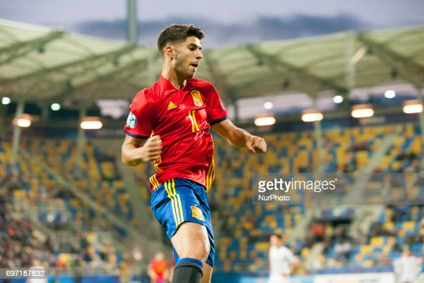 Marco Asensio of Spain celebrates his hattrick during the UEFA Under 21 Championship Group B match between Spain and FYR Macedonia at Gdynia Stadium...