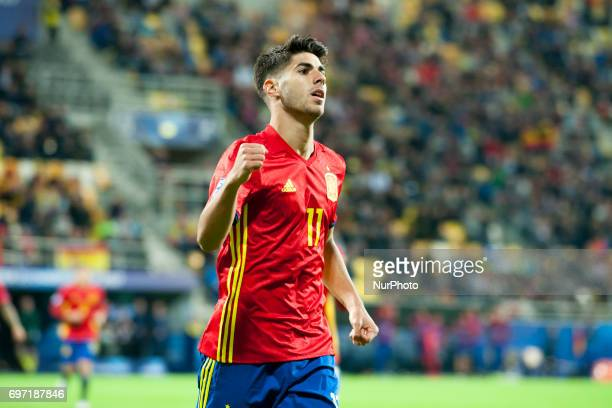 Marco Asensio of Spain celebrates his third goal for Spain during the UEFA Under 21 Championship Group B match between Spain and FYR Macedonia at...