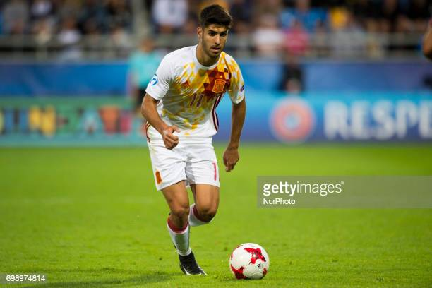Marco Asensio of Spain controls the ball during the UEFA European Under21 Championship 2017 Group B match between Portugal and Spain at Gdynia...