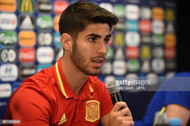 Marco Asensio of Spain during a press conference ahead of their UEFA European Under21 Championship 2017 semifinal match against Italy on Tuesday on...