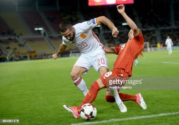Marco Asensio of Spain in action against Ezgjan Alioski of Macedonia during the FIFA 2018 World Cup Qualifiers Group G match between Macedonia and...