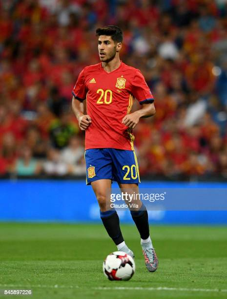 Marco Asensio of Spain in action during the FIFA 2018 World Cup Qualifier between Spain and Italy at Estadio Santiago Bernabeu on September 2 2017 in...