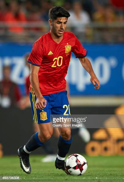 Marco Asensio of Spain in action during the international friendly match between Spain and Colombia at Nueva Condomina stadium on June 7 2017 in...