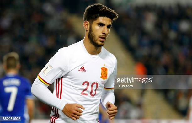 Marco Asensio of Spain looks on during the 2018 FIFA World Cup European Group G qualifying football match between Israel and Spain at Teddy Stadium...