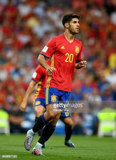 Marco Asensio of Spain looks on during the FIFA 2018 World Cup Qualifier between Spain and Italy at Estadio Santiago Bernabeu on September 2 2017 in...