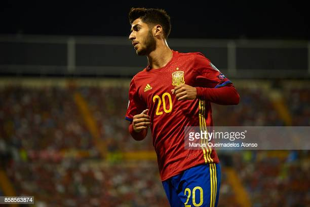 Marco Asensio of Spain looks on during the FIFA 2018 World Cup Qualifier between Spain and Albania at Rico Perez Stadium on October 6 2017 in...