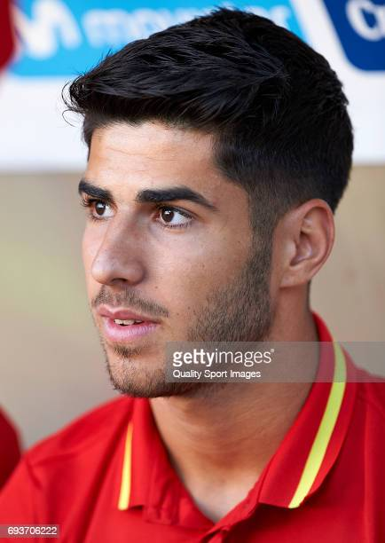 Marco Asensio of Spain looks on prior the international friendly match between Spain and Colombia at Nueva Condomina stadium on June 7 2017 in Murcia...