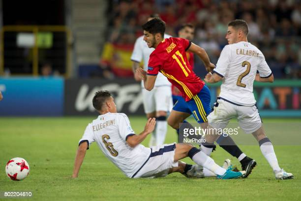 Marco Asensio of Spain pictured in action during the UEFA European Under21 Championship SemiFinal match between Spain and Italy at Krakow Stadium in...