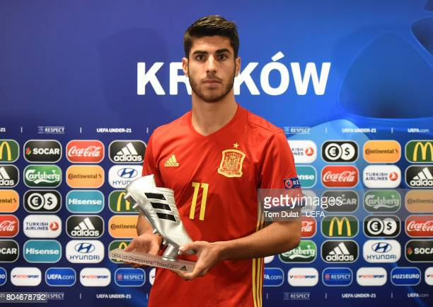 Marco Asensio of Spain poses for photos with adidas Silver Boot award after the UEFA European Under21 Championship Final match between Germany and...