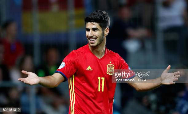 Marco Asensio of Spain reacts during the UEFA European Under21 Championship Final between Germany and Spain at Krakow Stadium on June 30 2017 in...