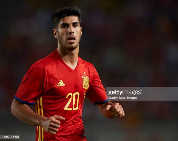 Marco Asensio reacts during the international friendly match between Spain and Colombia at Nueva Condomina stadium on June 7 2017 in Murcia Spain
