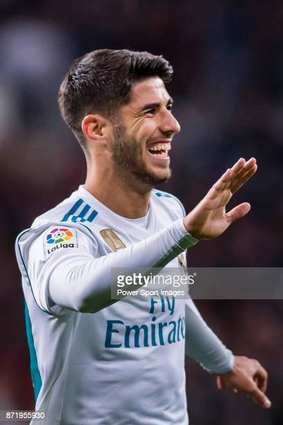 Marco Asensio Willemsen of Real Madrid celebrates after scoring his goal during the La Liga 201718 match between Real Madrid and UD Las Palmas at...