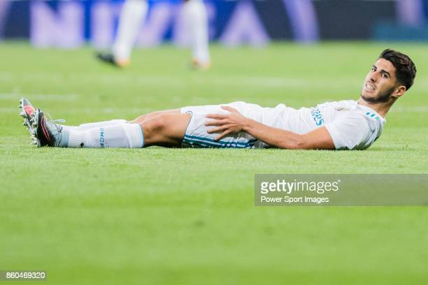 Marco Asensio Willemsen of Real Madrid reacts during the La Liga 201718 match between Real Madrid and RCD Espanyol at Estadio Santiago Bernabeu on 01...