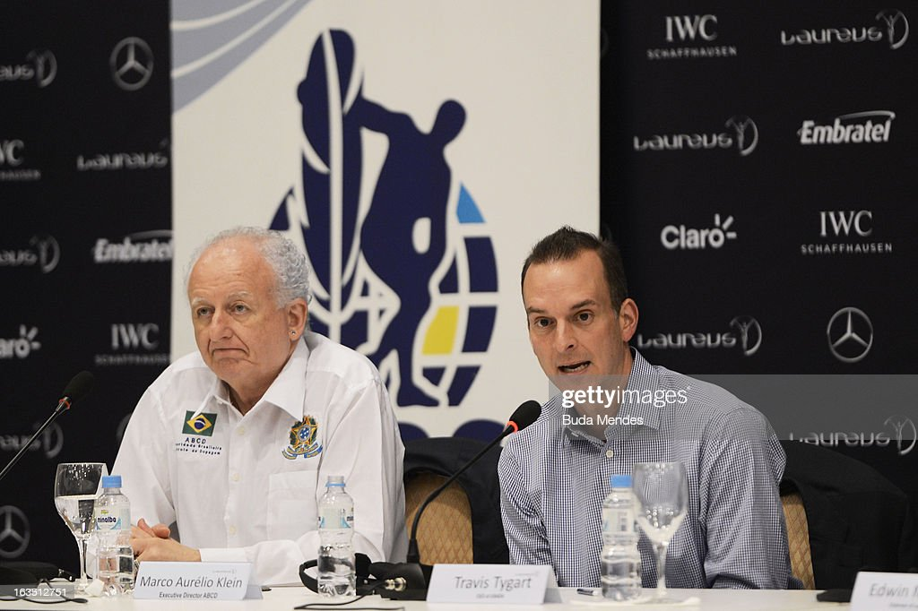 Marco Aurelio Klein Brazil Anti-Doping and Travis Tygart, USADA Chief attend the Laureus/AIPS Integrity In Sport Press Discusssion at the Windsor Atlantica during the 2013 Laureus World Sports Awards on March 11, 2013 in Rio de Janeiro, Brazil.