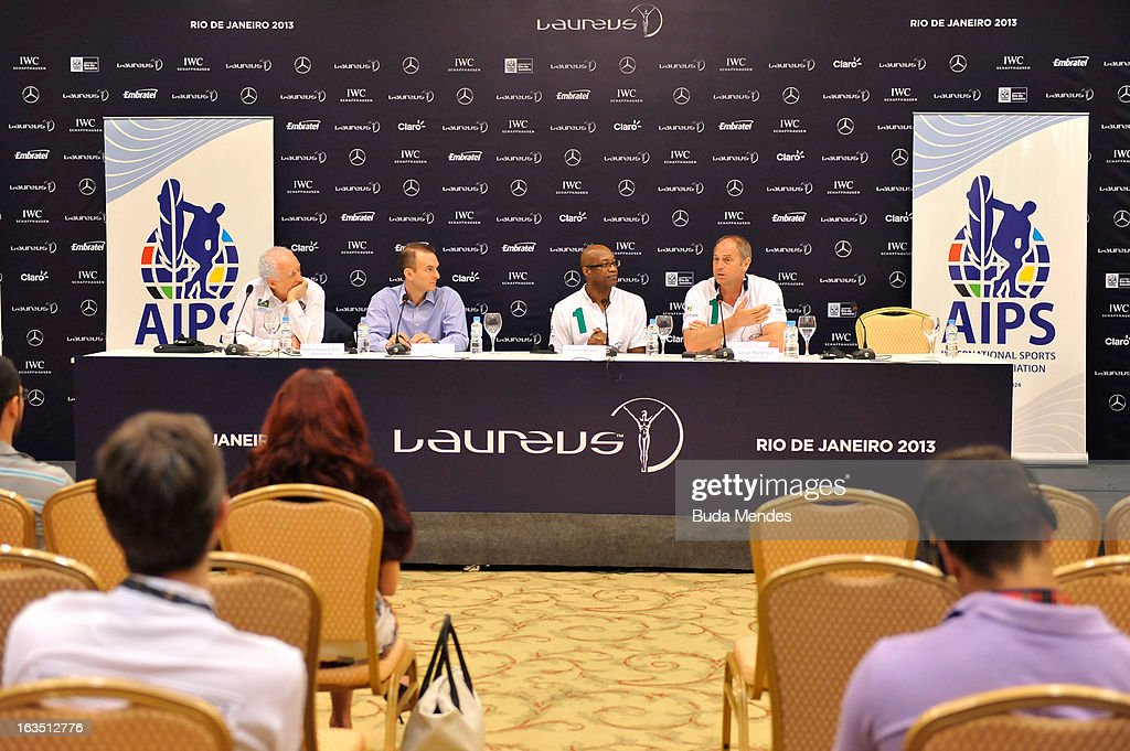Marco Aurelio Klein, Brazil Anti-Doping with Travis Tygart, USADA Chief with Laureus Academy Chairman <a gi-track='captionPersonalityLinkClicked' href=/galleries/search?phrase=Edwin+Moses+-+Track+and+Field+Athlete&family=editorial&specificpeople=206882 ng-click='$event.stopPropagation()'>Edwin Moses</a> and Laureus Academy Member Sir <a gi-track='captionPersonalityLinkClicked' href=/galleries/search?phrase=Steve+Redgrave&family=editorial&specificpeople=171908 ng-click='$event.stopPropagation()'>Steve Redgrave</a> attend the Laureus/AIPS Integrity In Sport Press Discusssion at the Windsor Atlantica during the 2013 Laureus World Sports Awards on March 11, 2013 in Rio de Janeiro, Brazil.