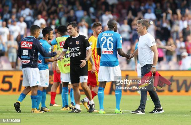 Marco Baroni greets Kalidou Koulibaly after the Serie A match between SSC Napoli and Benevento Calcio at Stadio San Paolo on September 17 2017 in...
