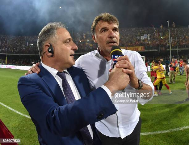 Marco Baroni head coach of Benevento Calcio celebrates the victory after the Serie B Play off Final match between Benevento Calcio and Carpi FC at...
