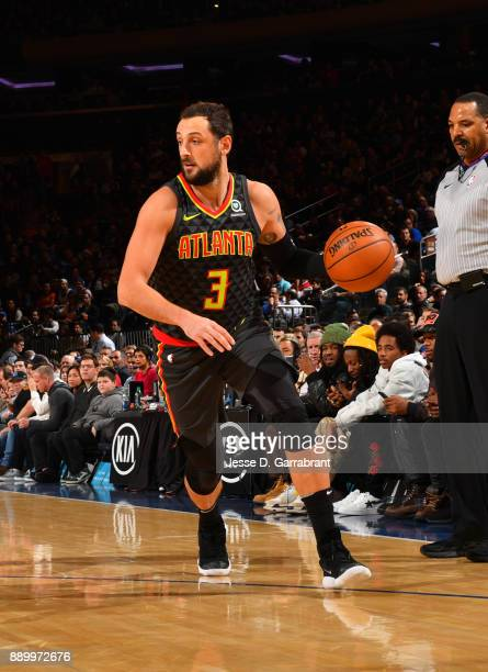 Marco Belinelli of the Atlanta Hawks dribbles up court against the New York Knicks at Madison Square Garden on December 10 2017 in New York New York...
