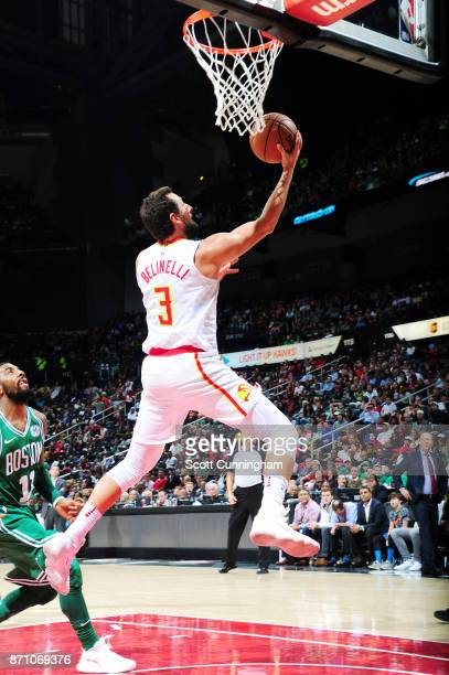 Marco Belinelli of the Atlanta Hawks goes to the basket against the Boston Celtics on November 6 2017 at Philips Arena in Atlanta Georgia NOTE TO...