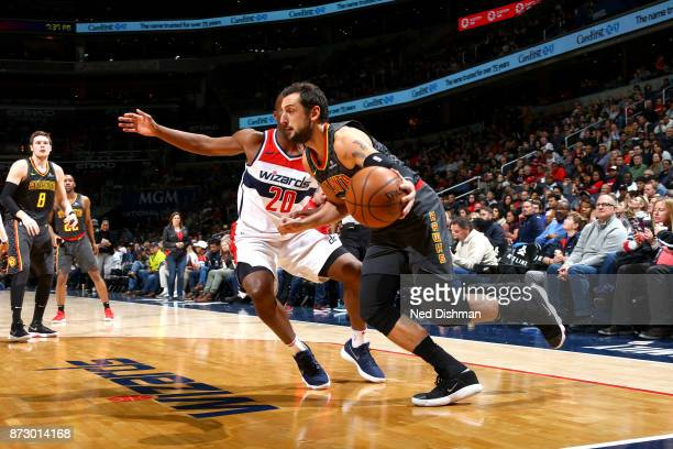 Marco Belinelli of the Atlanta Hawks goes to the basket against the Washington Wizards on November 11 2017 at Capital One Arena in Washington DC NOTE...