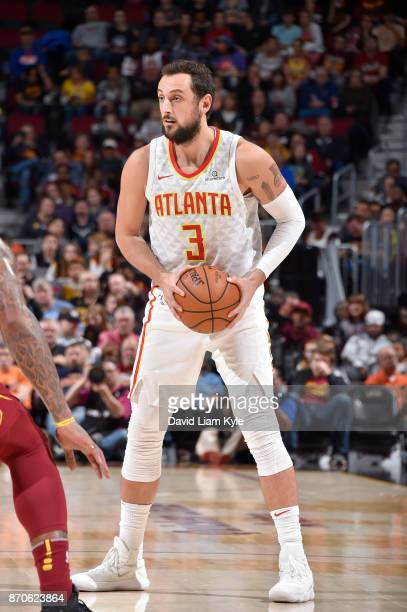 Marco Belinelli of the Atlanta Hawks handles the ball against the Cleveland Cavaliers on November 5 2017 at Quicken Loans Arena in Cleveland Ohio...
