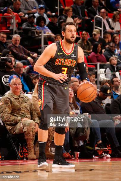 Marco Belinelli of the Atlanta Hawks handles the ball against the Detroit Pistons on November 10 2017 at Little Caesars Arena in Detroit Michigan...