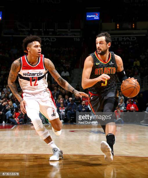 Marco Belinelli of the Atlanta Hawks handles the ball against the Washington Wizards on November 11 2017 at Capital One Arena in Washington DC NOTE...