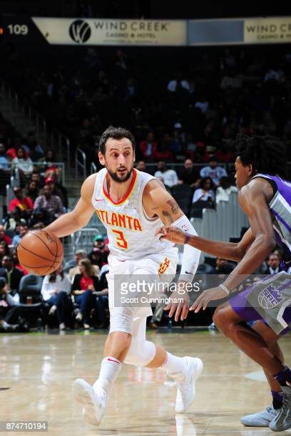 Marco Belinelli of the Atlanta Hawks handles the ball against the Sacramento Kings on November 15 2017 at Philips Arena in Atlanta Georgia NOTE TO...
