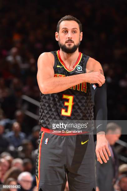 Marco Belinelli of the Atlanta Hawks looks on against the New York Knicks at Madison Square Garden on December 10 2017 in New York New York NOTE TO...
