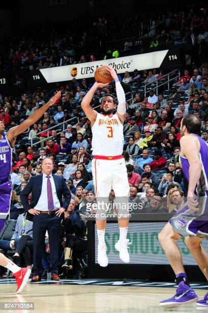 Marco Belinelli of the Atlanta Hawks shoots the ball against the Sacramento Kings on November 15 2017 at Philips Arena in Atlanta Georgia NOTE TO...