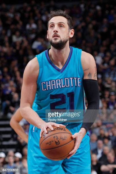 Marco Belinelli of the Charlotte Hornets attempts a freethrow shot against the Sacramento Kings on February 25 2017 at Golden 1 Center in Sacramento...