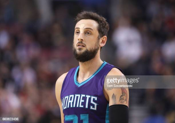 Marco Belinelli of the Charlotte Hornets during their game against the Toronto Raptors during NBA game action at Air Canada Centre on March 29 2017...