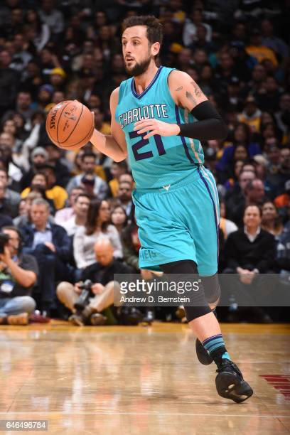 Marco Belinelli of the Charlotte Hornets handles the ball against the Los Angeles Lakers on February 28 2017 at STAPLES Center in Los Angeles...