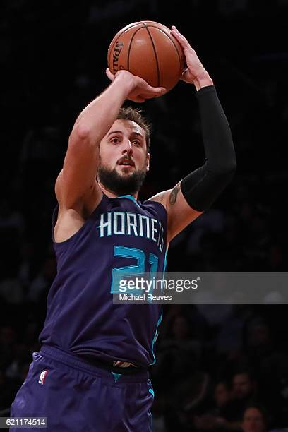 Marco Belinelli of the Charlotte Hornets shoots a jumper against the Brooklyn Nets during the second half at Barclays Center on November 4 2016 in...