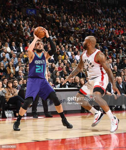 Marco Belinelli of the Charlotte Hornets shoots the ball against the Toronto Raptors during the game on March 29 2017 at the Air Canada Centre in...