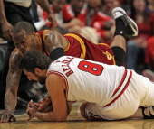 Marco Belinelli of the Chicago Bulls and Marreese Speights of the Cleveland Cavaliers dive for a loose ball at the United Center on February 26 2013...