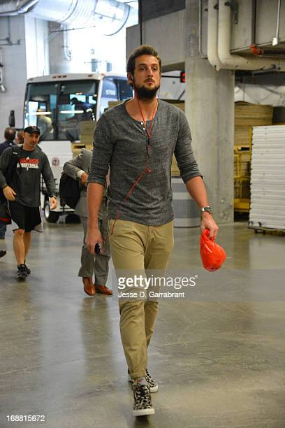 Marco Belinelli of the Chicago Bulls arrives before Game Five of the Eastern Conference Semifinals against the Miami Heat during the 2013 NBA...