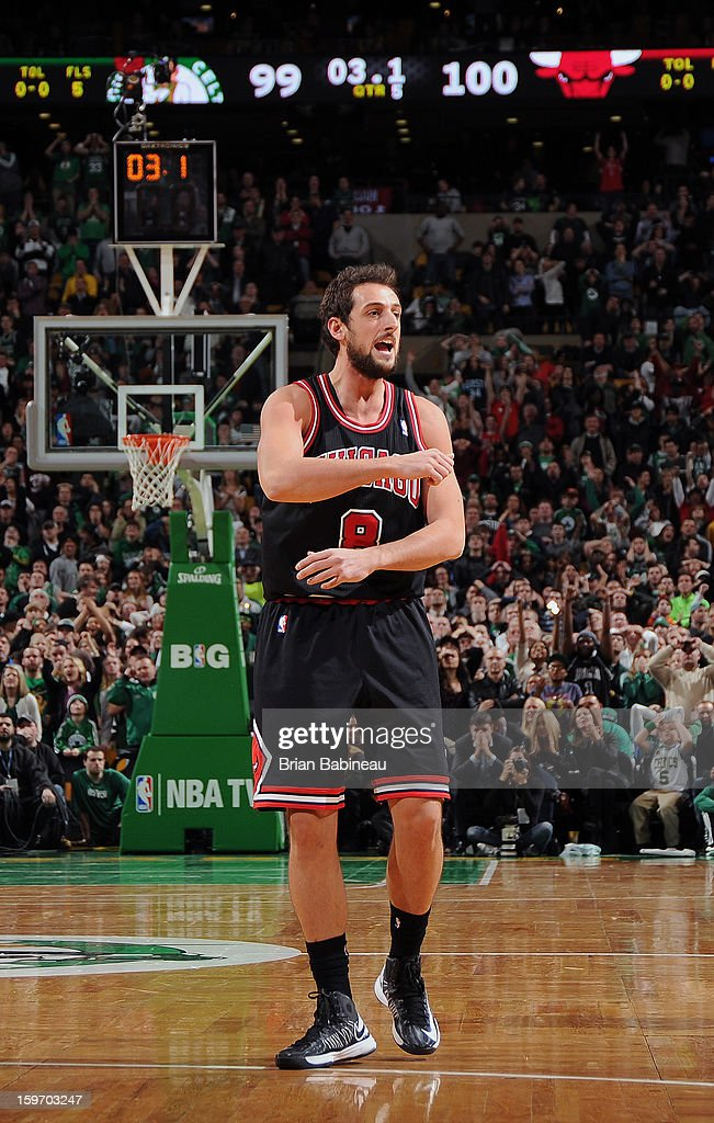 <a gi-track='captionPersonalityLinkClicked' href=/galleries/search?phrase=Marco+Belinelli&family=editorial&specificpeople=847592 ng-click='$event.stopPropagation()'>Marco Belinelli</a> #8 of the Chicago Bulls celebrates his game winning shot against the Boston Celtics on January 18, 2013 at the TD Garden in Boston, Massachusetts.