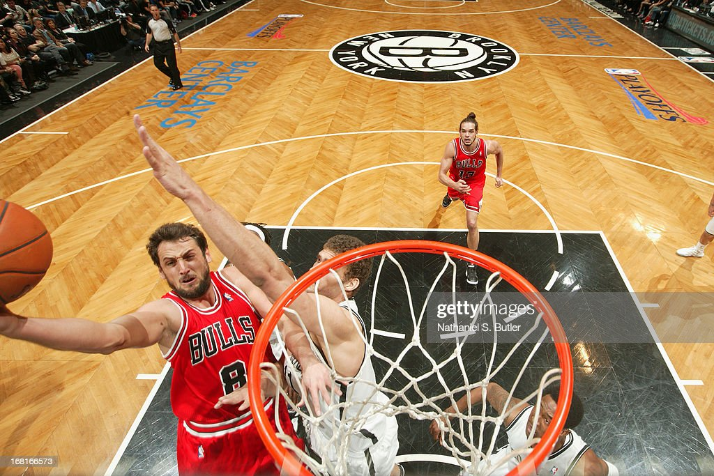 Marco Belinelli #8 of the Chicago Bulls drives to the basket against the Brooklyn Nets during the Game Seven of the Eastern Conference Quarterfinals during the 2013 NBA Playoffs at the Barclays Center on May 4, 2013 in the Brooklyn borough of New York City.