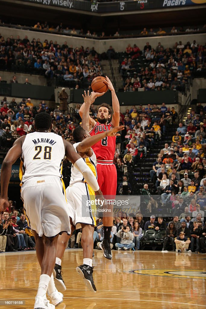 Marco Belinelli #8 of the Chicago Bulls goes for a jump shot during the game between the Indiana Pacers and the Chicago Bulls on February 4, 2013 at Bankers Life Fieldhouse in Indianapolis, Indiana.